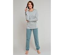 Schlafanzug Fledermausärmel mineral-cremeweiß geringelt - a lovely kind of quiet