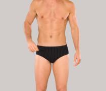 Badeslip mit Reißverschluss-Tasche schwarz-grau gestreift - Aqua für Herren
