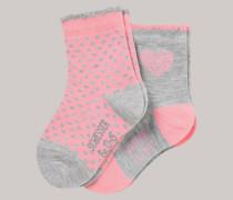 Schiesser Babysocken 2er-Pack Punkte Herzen Muschelsaum rosé/grau - Cotton Fit für Mädchen