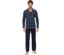 Pyjama lang Jersey blau kariert - Essentials