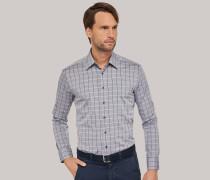 Schiesser Hemd langarm Kent-Kragen anthrazit kariert - REGULAR FIT für Herren