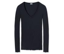 Shirt langarm feine Modal-Rippe aus Zwirn V-Ausschnitt blauschwarz - Revival Helena