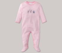 Schiesser Babyanzug mit Fuß rosé-weiß geringelt - Zirkus Zampano für Mädchen