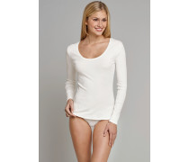 Schiesser Shirt langarm V-Ausschnitt cremeweiß - Naturschönheit für Damen