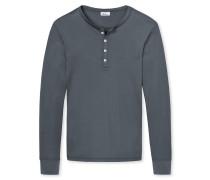Shirt langarm Doppelripp aus Zwirn mit Knopfleiste anthrazit - Revival Heinrich