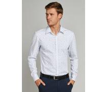 Hemd langarm Kent-Kragen weiß gemustert - SLIM FIT für Herren