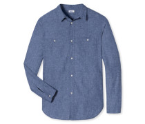 Hemd Leinen/Baumwolle dunkelblau meliert - Revival Luis