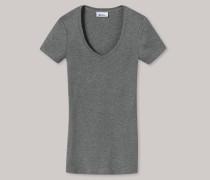 Schiesser Shirt kurzarm Feinripp grau-meliert - Revival Lena für Damen