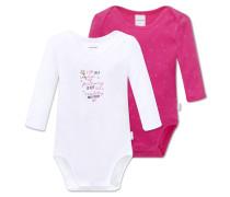 Babybodys langarm Feinripp 2er-Pack weiß/pink bedruckt - Hokuspokus
