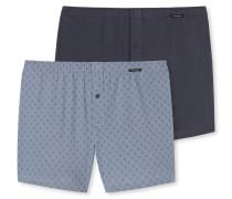 Boxershorts Jersey 2er-Pack anthrazit/graublau bedruckt - Essentials