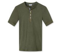 Shirt kurzarm mit Knopfleiste khaki meliert- Revival Karl-Heinz