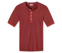 Shirt kurzarm mit Knopfleiste dunkelrot meliert- Revival Karl-Heinz