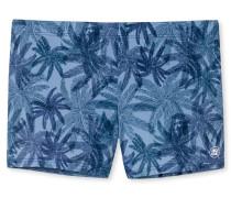 Bade-Retroshorts blaugrau mit Palmendruck - Aqua Rimini