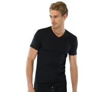 Shirt kurzarm V-Ausschnitt schwarz - Naturbursche