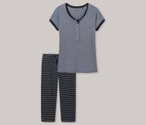 Schlafanzug T-Shirt 3/4-lange Hose Ringel graphit - Go Indigo