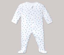 Schiesser Babyanzug lang mit Fuß und Reißverschluss weiß bedruckt - Sommerbrise für Mädchen