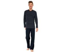 Schlafanzug lang Jersey Ringel dunkelblau - Essentials
