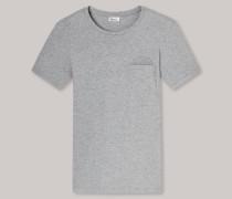 Schiesser Shirt kurzarm grau meliert geringelt - Revival Fred für Herren