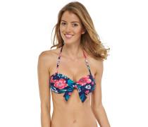 Bikini Bandeau-Top blumig bedruckt - Aqua