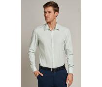 Schiesser Hemd langarm Kent-Kragen hellgrün-weiß gestreift - SLIM FIT für Herren