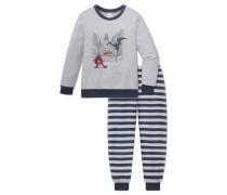 Schlafanzug lang Vollbündchen grau meliert bedruckt - Nici Creatures
