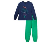 Schlafanzug lang Jersey blau bedruckt - Otto lernt Rechnen