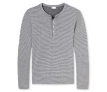 Shirt langarm mit Knopfleiste grau geringelt - Revival Anton