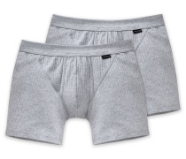 Shorts mit Eingriff 2er-Pack grau meliert - Authentic