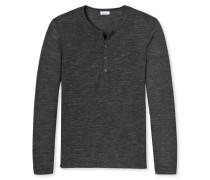 Shirt langarm mit Knopfleiste grau meliert - Revival Jakob