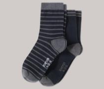 Schiesser Socken 2er-Pack Streifen grau-nachtlbau gemustert - Mix & Relax für Jungen