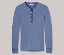 Schiesser Shirt langarm mit Knopfleiste indigo meliert - Revival Karl-Heinz für Herren