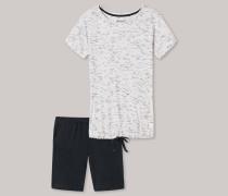 Schlafanzug kurz Viskose-Jersey Melange-Optik graphit - Go Indigo