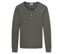 Shirt langarm Doppelripp aus Zwirn mit Knopfleiste braungrau - Revival Heinrich