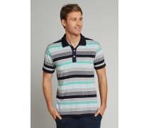 Poloshirt kurzarm Heavy Single Jersey Blockringel mint - Selected! Premium für Herren