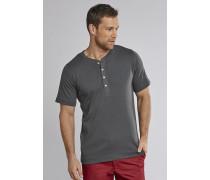 Shirt kurzarm Feinripp Henley Knopfleiste anthrazit - Selected! Premium,Shirt kurzarm Feinripp Henley Knopfleiste anthrazit -elected! Premium