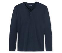 Schiesser Shirt langarm Jersey Knopfleiste dunkel