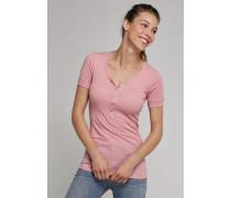Shirt kurzarm mit Knopfleiste rosa - Selected! Premium