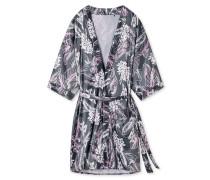 Kimono Web-Satin Spitze Blumenprint graphit
