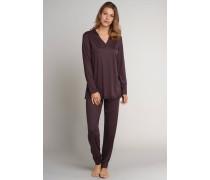 Schlafanzug lang Interlock Spitze Bündchen dunkelbraun - Sweet Darkness für Damen