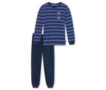 Schlafanzug lang Frottee mehrfarbig geringelt - Play to win