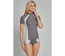 Schiesser Shirt kurzarm Funktionswäsche anthrazit-weiß - Sport Extreme für Damen