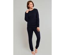 Schlafanzug lang Feinripp Nadelzug blauschwarz - just wool