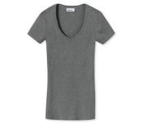 Shirt kurzarm Feinripp grau-meliert - Revival Lena