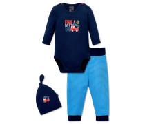 Baby-Set 3-teilig blau bedruckt – Feuerwehrmann