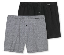 Boxershorts Jersey 2er-Pack uni Ringel mehrfarbig