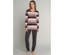 Schlafanzug lang Interlock Blockringel Bündchen mehrfarbig - Timeless für Damen