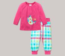 Schiesser Babyanzug lang 2-teilig pink bedruckt - Tropical Bird für Mädchen