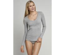 Shirt langarm V-Ausschnitt grau meliert - Naturschönheit für Damen