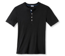 Shirt kurzarm mit Knopfleiste schwarz - Revival Karl-Heinz
