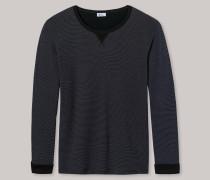 Sweater Feinripp Doubleface Ringel graublau-schwarz - Revival Anton für Herren